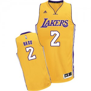 Maillot NBA Los Angeles Lakers #2 Brandon Bass Or Adidas Swingman Home - Homme