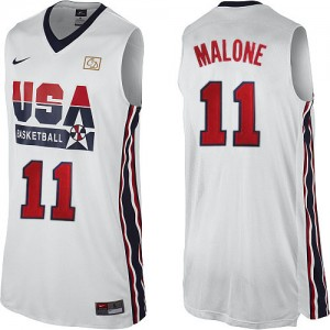 Maillot NBA Team USA #11 Karl Malone Blanc Nike Swingman 2012 Olympic Retro - Homme