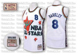 Phoenix Suns Charles Barkley #8 Throwback 1995 All Star Authentic Maillot d'équipe de NBA - Blanc pour Homme