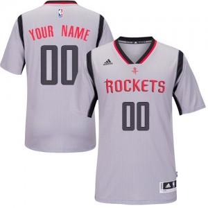 Houston Rockets Personnalisé Adidas Alternate Gris Maillot d'équipe de NBA boutique en ligne - Swingman pour Homme
