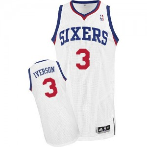 Maillot NBA Blanc Allen Iverson #3 Philadelphia 76ers Home Authentic Homme Adidas
