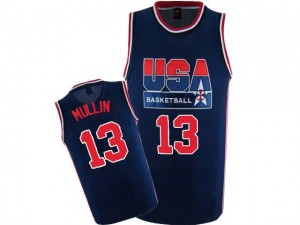 Maillot NBA Authentic Chris Mullin #13 Team USA 2012 Olympic Retro Bleu marin - Homme