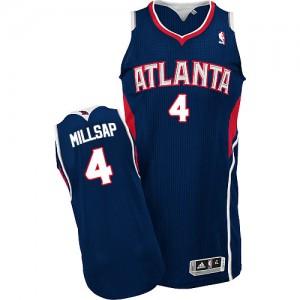 Atlanta Hawks #4 Adidas Road Bleu marin Authentic Maillot d'équipe de NBA Braderie - Paul Millsap pour Homme