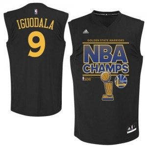 Maillot NBA Authentic Andre Iguodala #9 Golden State Warriors 2015 NBA Finals Champions Noir - Homme