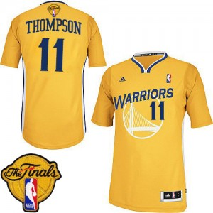 Golden State Warriors Klay Thompson #11 Alternate 2015 The Finals Patch Swingman Maillot d'équipe de NBA - Or pour Femme