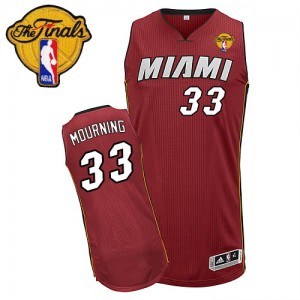 Maillot Adidas Rouge Alternate Finals Patch Swingman Miami Heat - Alonzo Mourning #33 - Homme