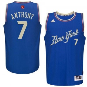 New York Knicks #7 Adidas 2015-16 Christmas Day Bleu Swingman Maillot d'équipe de NBA Magasin d'usine - Carmelo Anthony pour Homme