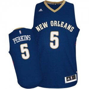 Maillot Authentic New Orleans Pelicans NBA Road Bleu marin - #5 Kendrick Perkins - Homme