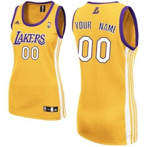 Maillot NBA Los Angeles Lakers Personnalisé Swingman Or Adidas Home - Femme