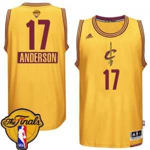 Maillot Adidas Or 2014-15 Christmas Day 2015 The Finals Patch Authentic Cleveland Cavaliers - Anderson Varejao #17 - Homme