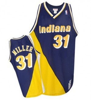 Maillot NBA Indiana Pacers #31 Reggie Miller Marine / Or Mitchell and Ness Authentic Throwback - Homme