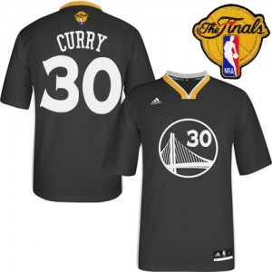 Maillot NBA Golden State Warriors #30 Stephen Curry Noir Adidas Swingman Alternate 2015 The Finals Patch - Femme