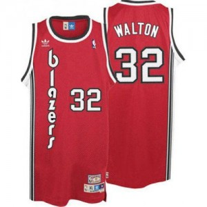 Maillot NBA Portland Trail Blazers #32 Bill Walton Rouge Adidas Authentic Throwback - Homme