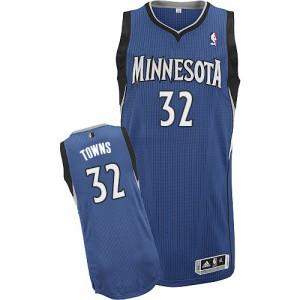 Minnesota Timberwolves #32 Adidas Road Slate Blue Authentic Maillot d'équipe de NBA en soldes - Karl-Anthony Towns pour Homme