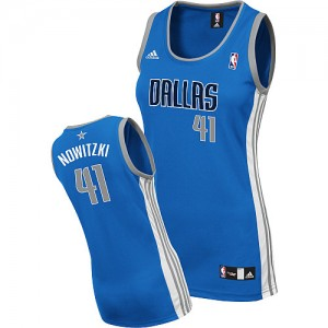 Maillot NBA Swingman Dirk Nowitzki #41 Dallas Mavericks Road Bleu royal - Femme