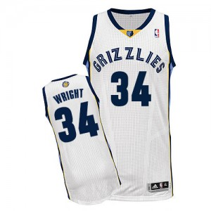 Maillot NBA Authentic Brandan Wright #34 Memphis Grizzlies Home Blanc - Homme