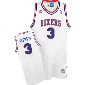 Maillot Swingman Philadelphia 76ers NBA Throwack Blanc - #3 Allen Iverson - Homme