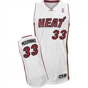 Maillot Authentic Miami Heat NBA Home Blanc - #33 Alonzo Mourning - Homme