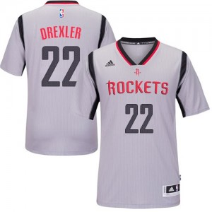 Houston Rockets #22 Adidas Alternate Gris Swingman Maillot d'équipe de NBA Peu co?teux - Clyde Drexler pour Homme