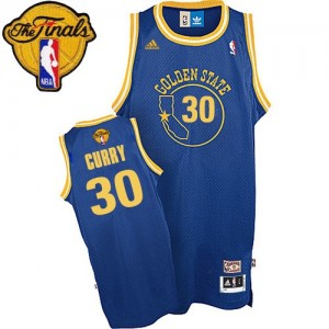 Maillot Swingman Golden State Warriors NBA Throwback 2015 The Finals Patch Bleu royal - #30 Stephen Curry - Homme