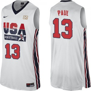 Maillots de basket Authentic Team USA NBA 2012 Olympic Retro Blanc - #13 Chris Paul - Homme