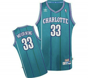 Maillot NBA Bleu clair Alonzo Mourning #33 Charlotte Hornets Throwback Swingman Homme Adidas
