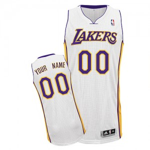 Maillot NBA Blanc Authentic Personnalisé Los Angeles Lakers Alternate Enfants Adidas