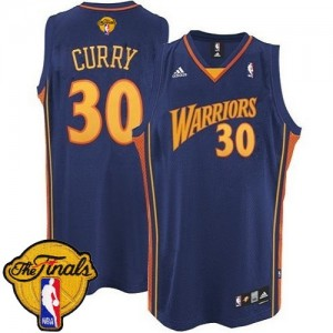 Golden State Warriors Stephen Curry #30 Throwback 2015 The Finals Patch Swingman Maillot d'équipe de NBA - Bleu marin pour Homme