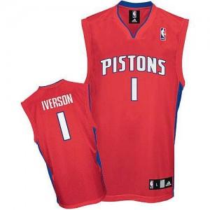 Detroit Pistons #1 Adidas Rouge Authentic Maillot d'équipe de NBA Promotions - Allen Iverson pour Homme