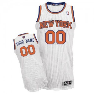 Maillot NBA Blanc Authentic Personnalisé New York Knicks Home Homme Adidas
