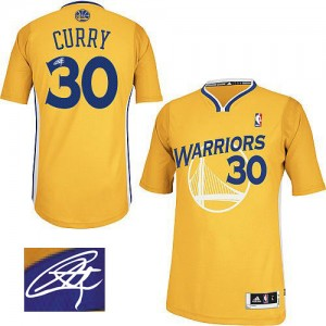 Maillot NBA Or Stephen Curry #30 Golden State Warriors Alternate Autographed Authentic Homme Adidas