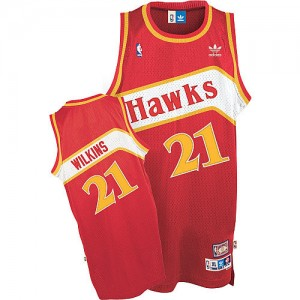 Maillot NBA Atlanta Hawks #21 Dominique Wilkins Rouge Adidas Authentic Throwback - Homme