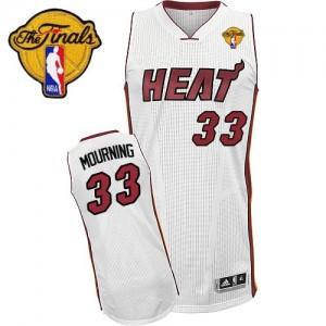 Miami Heat Alonzo Mourning #33 Home Finals Patch Swingman Maillot d'équipe de NBA - Blanc pour Homme