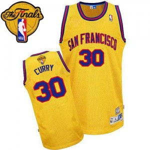 Maillot NBA Or Stephen Curry #30 Golden State Warriors Throwback San Francisco 2015 The Finals Patch Authentic Homme Adidas