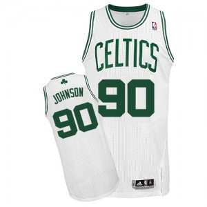 Maillot NBA Boston Celtics #90 Amir Johnson Blanc Adidas Authentic Home - Homme