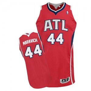 Maillot NBA Atlanta Hawks #44 Pete Maravich Rouge Adidas Authentic Alternate - Homme