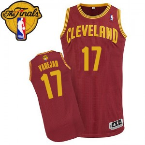 Maillot NBA Cleveland Cavaliers #17 Anderson Varejao Vin Rouge Adidas Authentic Road 2015 The Finals Patch - Homme