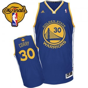 Golden State Warriors Stephen Curry #30 Road 2015 The Finals Patch Swingman Maillot d'équipe de NBA - Bleu royal pour Enfants