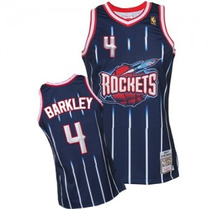 Maillot NBA Houston Rockets #4 Charles Barkley Bleu marin Mitchell and Ness Authentic Hardwood Classic Fashion - Homme