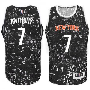 Maillot Adidas Noir City Light Authentic New York Knicks - Carmelo Anthony #7 - Homme