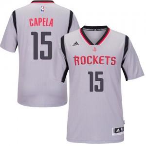Maillot NBA Houston Rockets #15 Clint Capela Gris Adidas Authentic Alternate - Homme