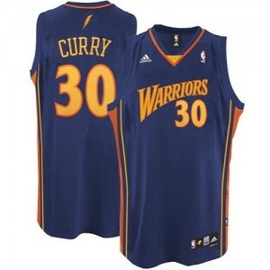 Golden State Warriors Stephen Curry #30 Throwback Authentic Maillot d'équipe de NBA - Bleu marin pour Homme