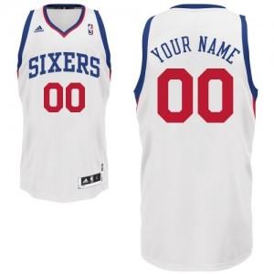 Philadelphia 76ers Personnalisé Adidas Home Blanc Maillot d'équipe de NBA Remise - Swingman pour Enfants