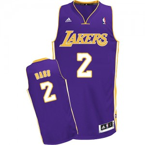 Maillot NBA Violet Brandon Bass #2 Los Angeles Lakers Road Swingman Homme Adidas