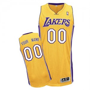 Maillot NBA Or Authentic Personnalisé Los Angeles Lakers Home Homme Adidas