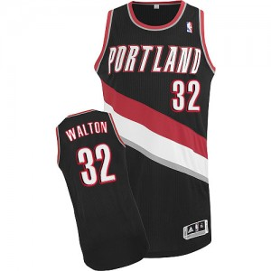 Portland Trail Blazers Bill Walton #32 Road Authentic Maillot d'équipe de NBA - Noir pour Homme