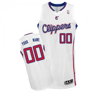 Maillot NBA Blanc Authentic Personnalisé Los Angeles Clippers Home Homme Adidas