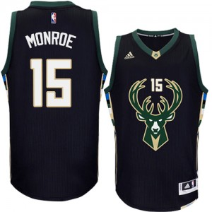 Maillot NBA Milwaukee Bucks #15 Greg Monroe Noir Adidas Swingman Alternate - Homme