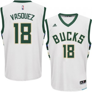 Maillot Adidas Blanc Home Authentic Milwaukee Bucks - Greivis Vasquez #18 - Homme