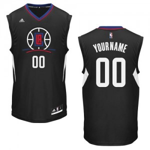 Maillot Adidas Noir Alternate Los Angeles Clippers - Swingman Personnalisé - Enfants